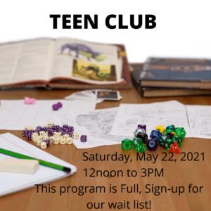 Teen Club – May 22 2021